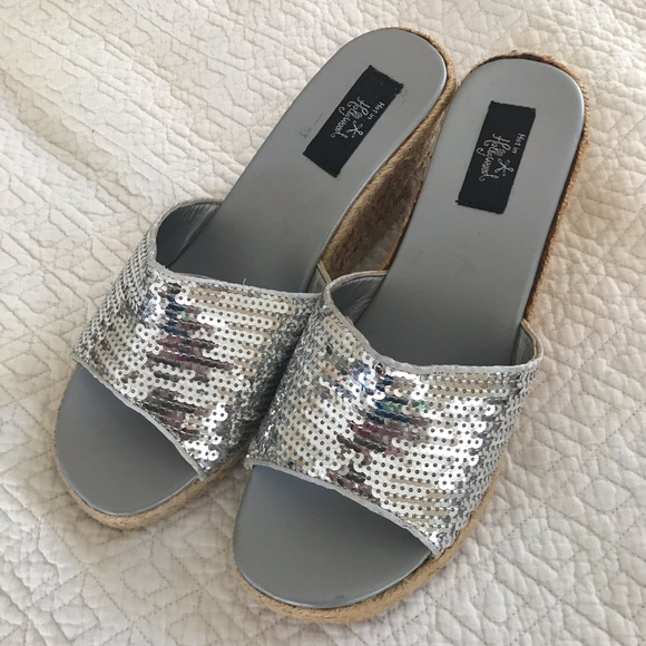 "c235aa4cd63 Hot in Hollywood Silver sequin 3"" wedge sandals"